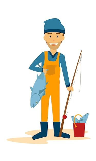 Pescador, ficar, com, seu, peixe Vetor Premium