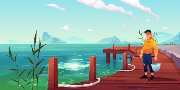 Pescador no cais, vista do mar e colinas ilustração Vetor grátis