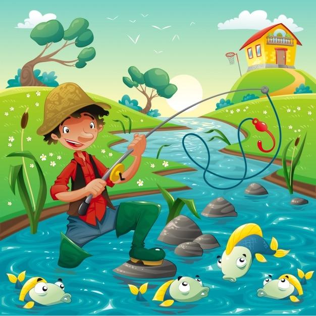 Pescador No Fundo Do Rio Vetor Gratis