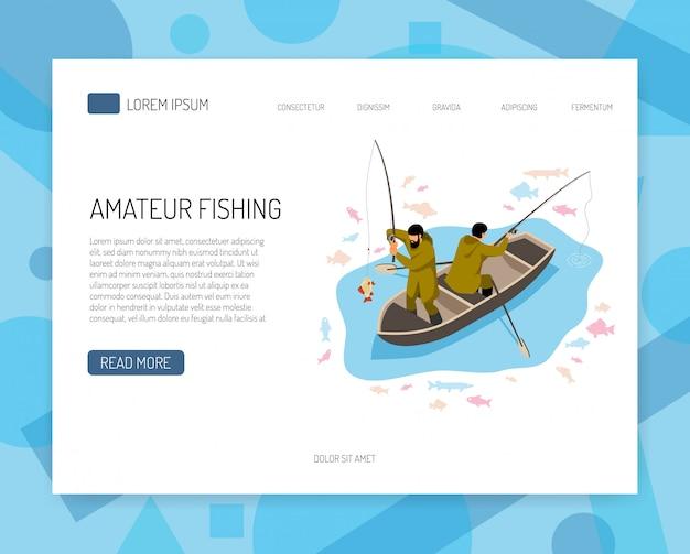 Pescadores no barco durante o peixe captura conceito isométrico de banner web com elementos de interface Vetor grátis