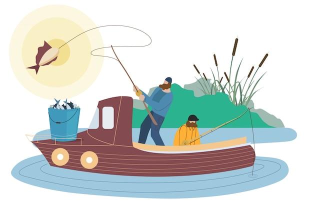 Pescadores, pegando, peixe, caráteres lisos Vetor Premium