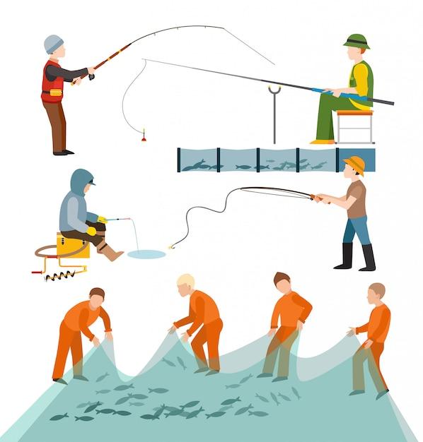 Pescadores pescadores Vetor Premium