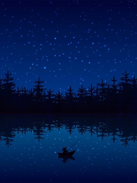 Pescar à noite perto de uma floresta com ilustração em vetor plana barco e vara Vetor grátis