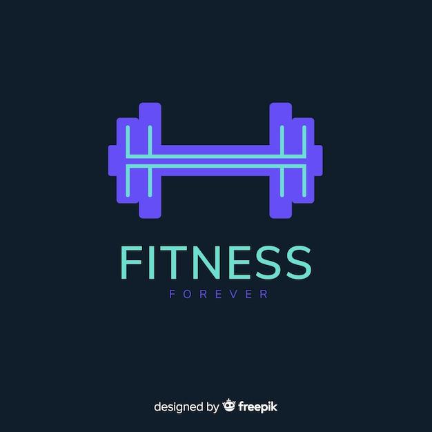 Peso silhueta fitness logotipo design plano Vetor grátis