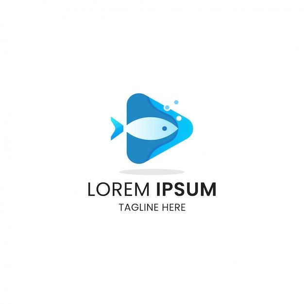 Pesque com modelo de design de ícone de logotipo de mídia de botão de reprodução Vetor Premium