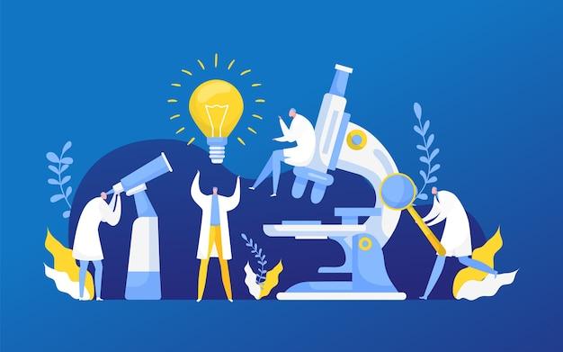 Pesquisa de descoberta de ideias em química, biologia ou medicina. lâmpada de uma nova ideia, descobrindo a ciência, pesquisando o laboratório. inovação do laboratório de pesquisa científica. Vetor Premium