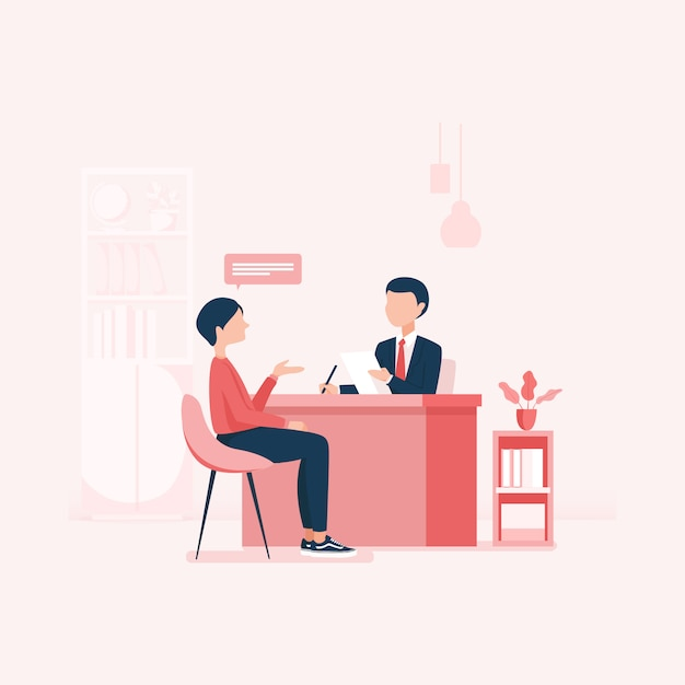 Pesquisa de emprego recursos humanos recrutamento carreira Vetor Premium