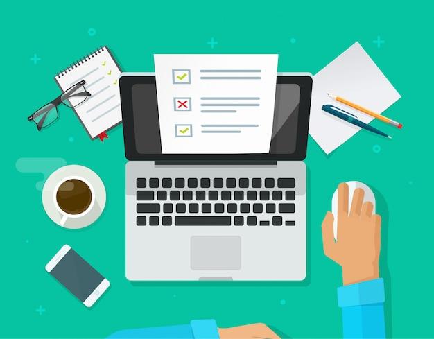 Pesquisa de formulário on-line ou exame de teste no computador portátil Vetor Premium