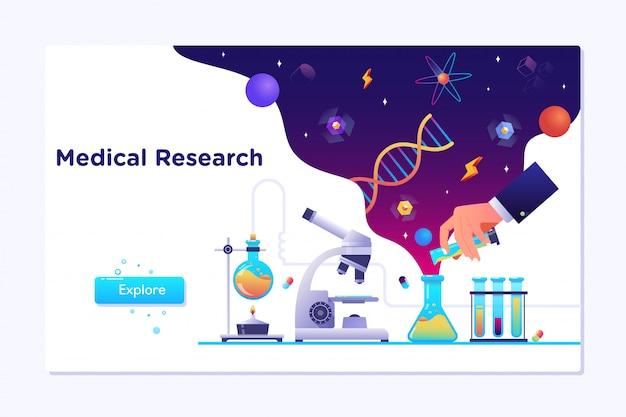 Pesquisa de laboratório médico Vetor Premium