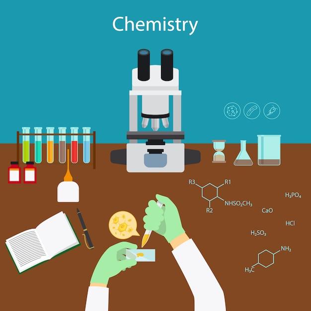 Pesquisa de química em laboratório Vetor Premium