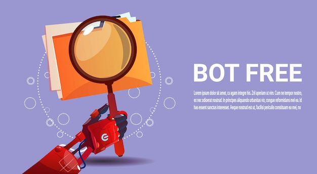 Pesquisa de robô de bate-papo assistência virtual de robô de site ou aplicações móveis, inteligência artificial Vetor Premium