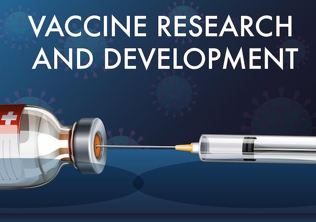 Pesquisa e desenvolvimento de vacinas para covid-19 ou coronavírus com seringa médica com agulha Vetor grátis