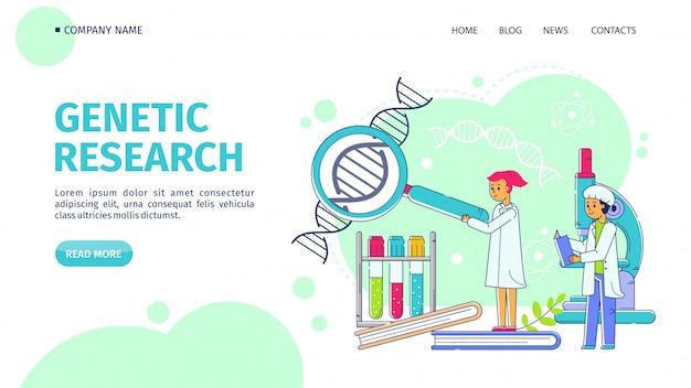 Pesquisa genética, ilustração em vetor linha pouso. os cientistas equipam a estrutura do adn do estudo da mulher através da lente de aumento no laboratório. Vetor Premium