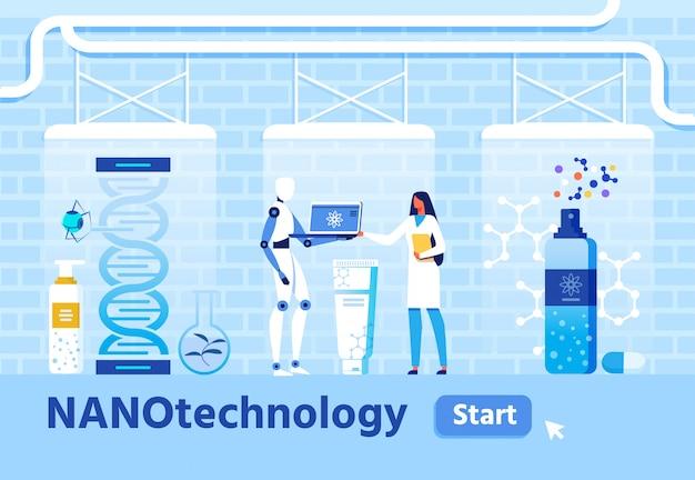 Pesquisa médica e criação de nanomateriais Vetor Premium