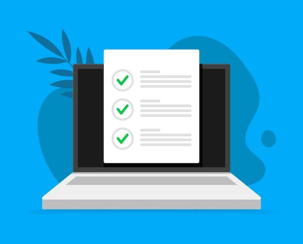 Pesquisa online, lista de verificação, ícone de questionário Vetor Premium