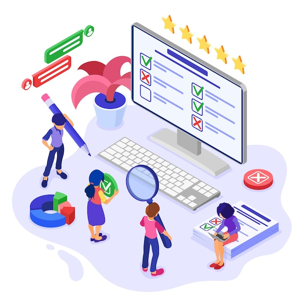 Pesquisa online ou banner de teste com caracteres isométricos. Vetor Premium