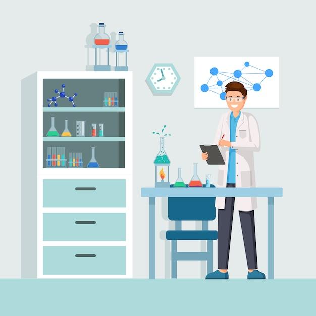 Pesquisador, em, trabalho, ilustração Vetor Premium