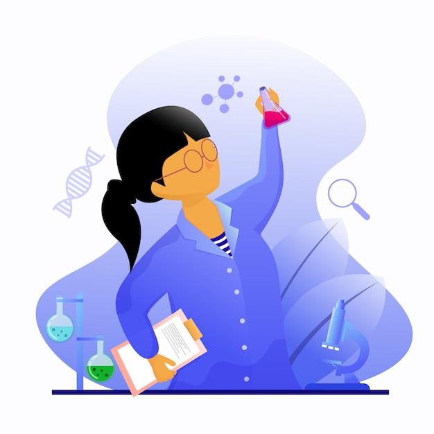 Pesquisador feminino em laboratório detém uma ilustração do tubo de vidro Vetor Premium