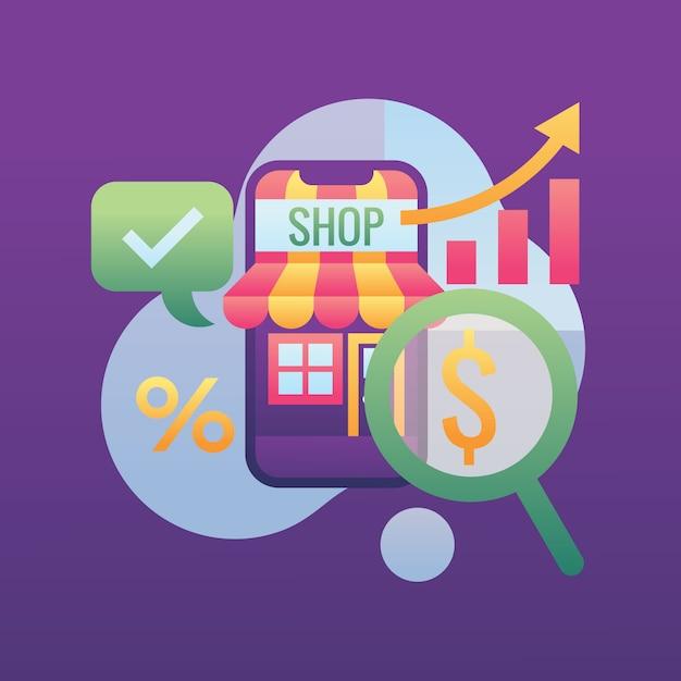 Pesquisando o ícone de dinheiro crescente de negócios Vetor Premium