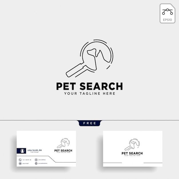 Pesquisar modelo de logotipo de animal de estimação com estilo de arte de linha Vetor Premium