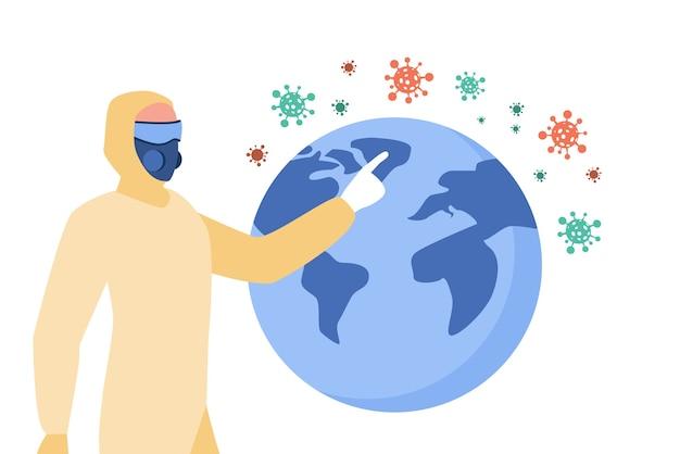 Pessoa apresentando disseminação de coronavírus. homem em traje protetor e máscara apontando para ilustração plana do globo. Vetor grátis