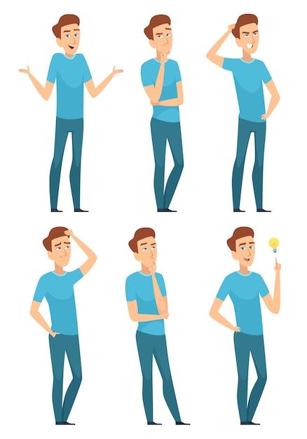 Pessoa atenciosa. pensando rosto de expressão masculina pose preocupada fazendo pergunta séria. expressão de personagem masculino e ilustração de pose de gesto Vetor Premium