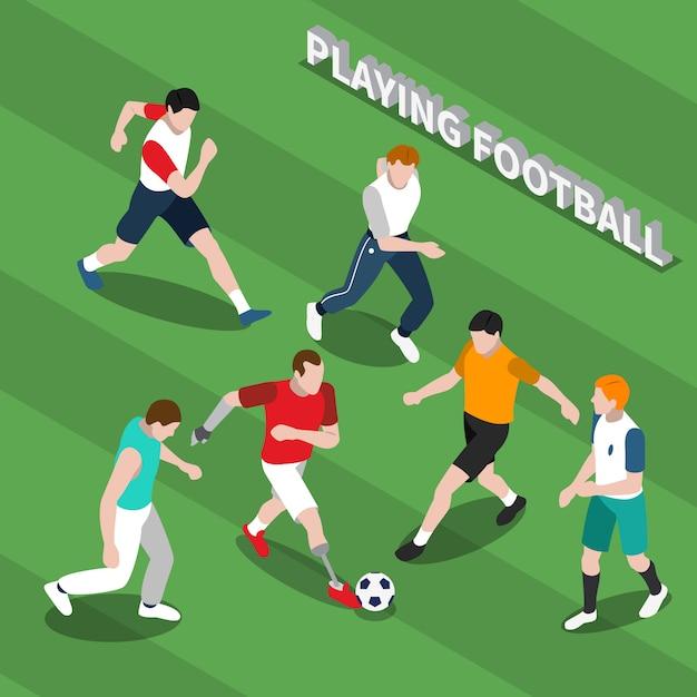 Pessoa com deficiência jogando futebol ilustração isométrica Vetor grátis