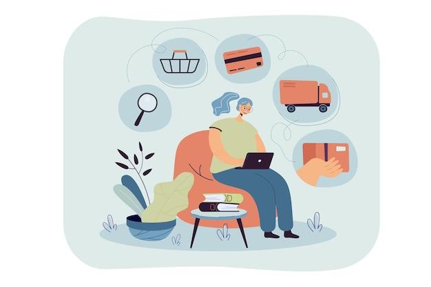 Pessoa com laptop usando o aplicativo online para pedir comida de supermercado ou restaurante. ilustração de desenho animado Vetor grátis