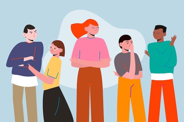 Pessoa com raiva no conceito de multidão para ilustração Vetor grátis