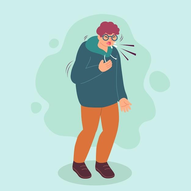 Pessoa com resfriado e tosse Vetor grátis