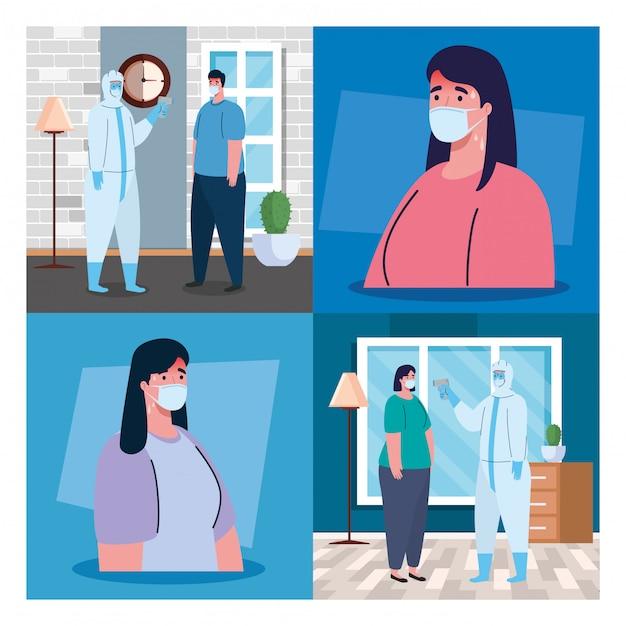 Pessoa com roupa de desinfecção, com termômetro infravermelho sem contato digital, cenário Vetor Premium