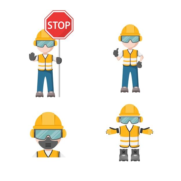 Pessoa com seu equipamento de proteção individual com ícone de parada de segurança industrial Vetor Premium