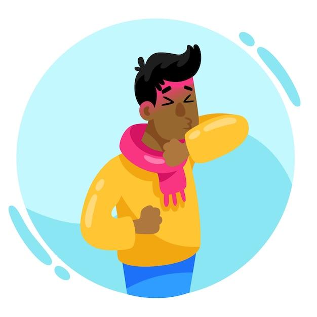 Pessoa com tosse fria Vetor grátis