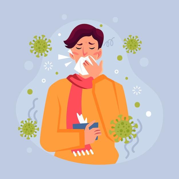 Pessoa com tosse por coronavírus Vetor grátis