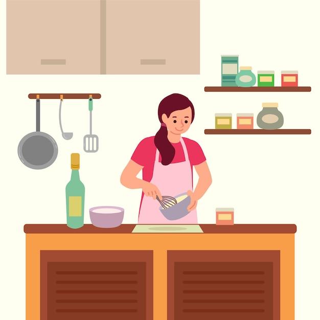 Pessoa, cozinhar, ilustração Vetor grátis