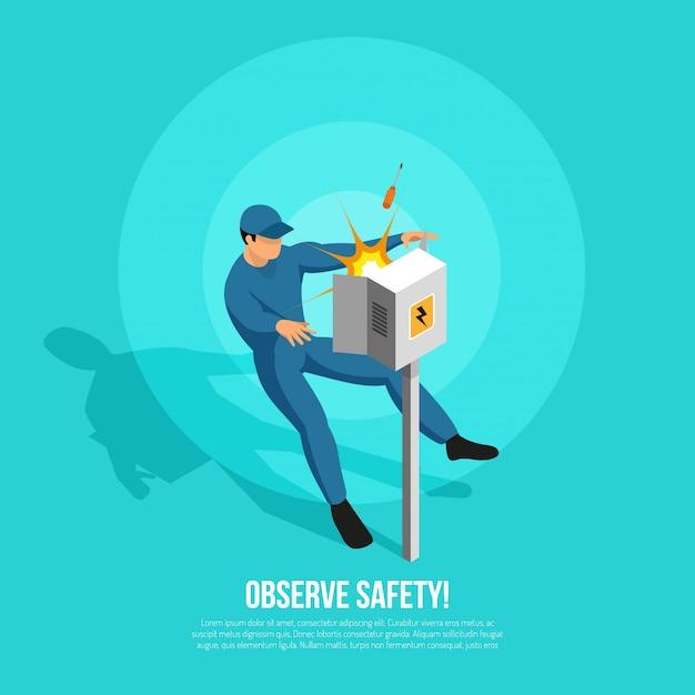 Pessoa de eletricista isométrica com caráter plano de atacante no painel uniforme de energia elétrica e ilustração em vetor texto editável Vetor grátis