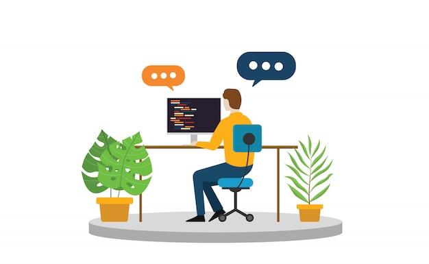 Pessoa de negócios freelancer sentado e trabalhando sozinho Vetor Premium