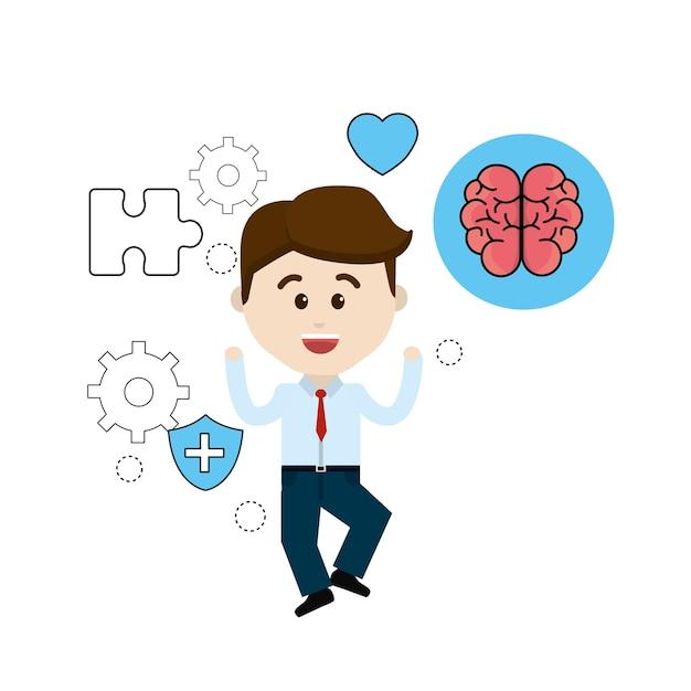 Pessoa de saúde mental com dicas cuidados cérebro Vetor Premium