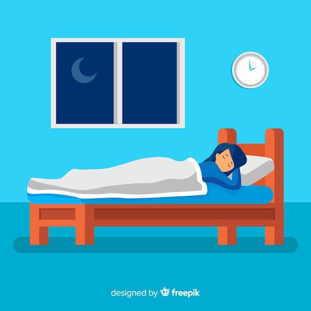Pessoa, dormir, cama, fundo Vetor grátis