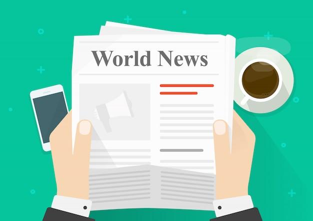 Pessoa dos desenhos animados plana ler notícias no jornal enquanto vista superior de coffee break Vetor Premium
