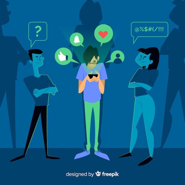 Pessoa, ignorando, amigos, conceito, ilustração Vetor grátis