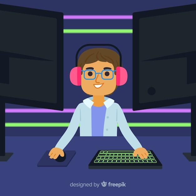 Pessoa jogando um jogo de computador Vetor grátis