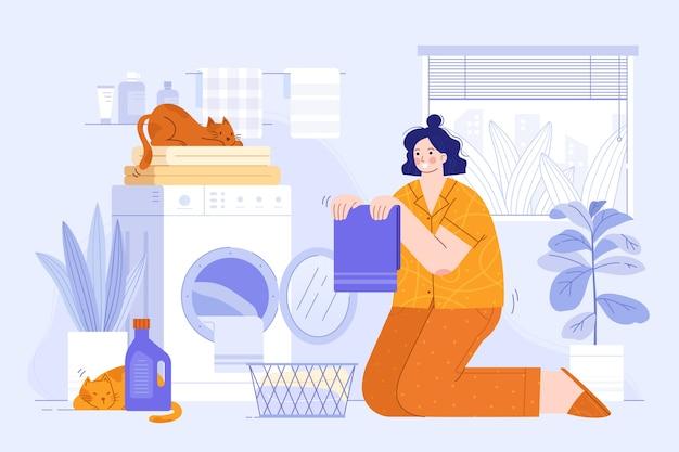 Pessoa lavando roupa ilustração Vetor grátis