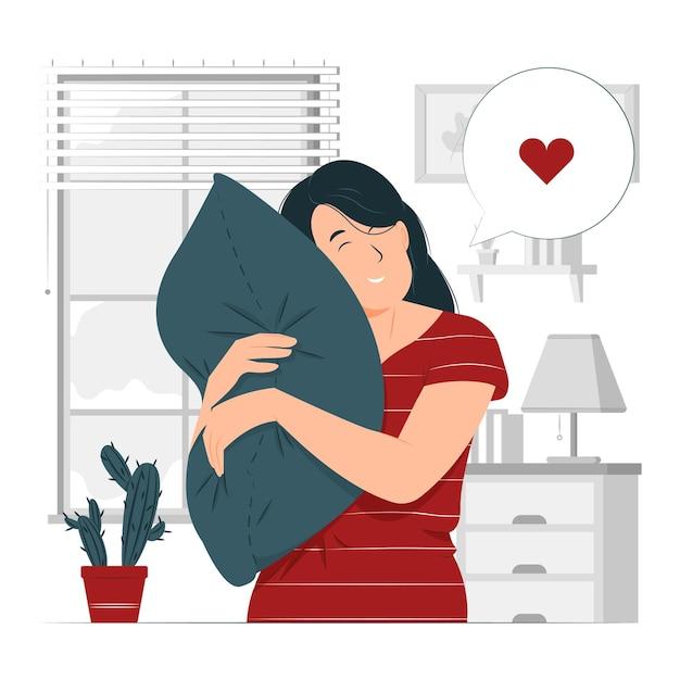 Pessoa, menina, uma mulher preguiçosa, com sono, apóia-se em uma ilustração do conceito de travesseiro macio Vetor Premium