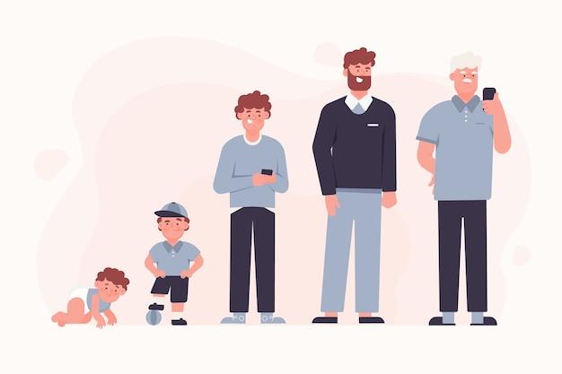 Pessoa no conceito de diferentes idades Vetor grátis