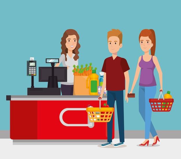 Pessoa no ponto de pagamento do supermercado Vetor Premium