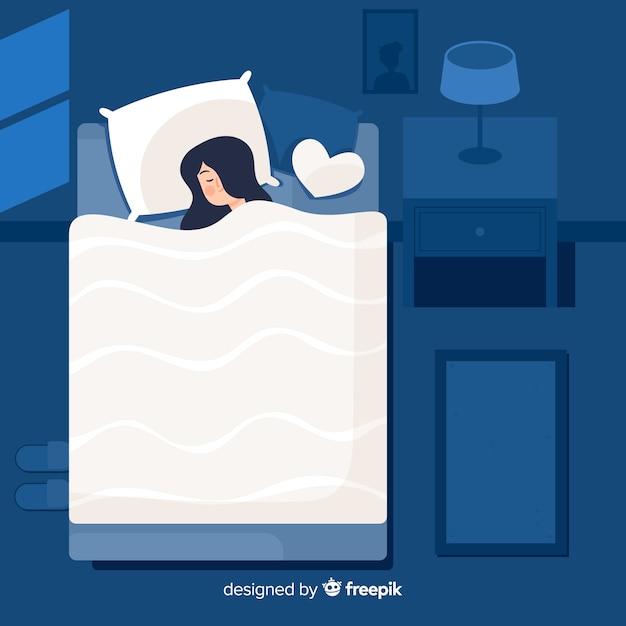 Pessoa plana dormindo à noite no fundo da cama Vetor grátis