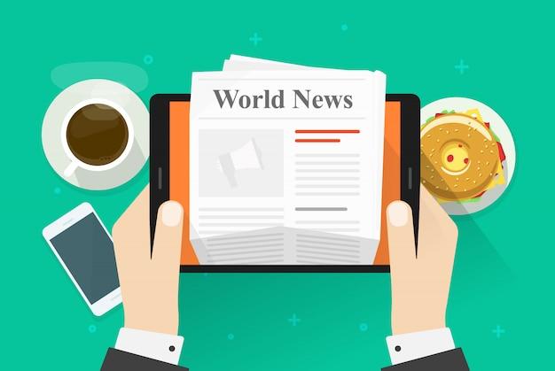 Pessoa plana dos desenhos animados, tomando café da manhã e lendo revista de notícias do mundo ou jornal sobre tablet Vetor Premium