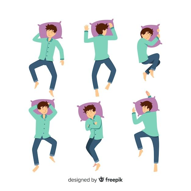 Pessoa plana em diferentes posições de sono Vetor Premium