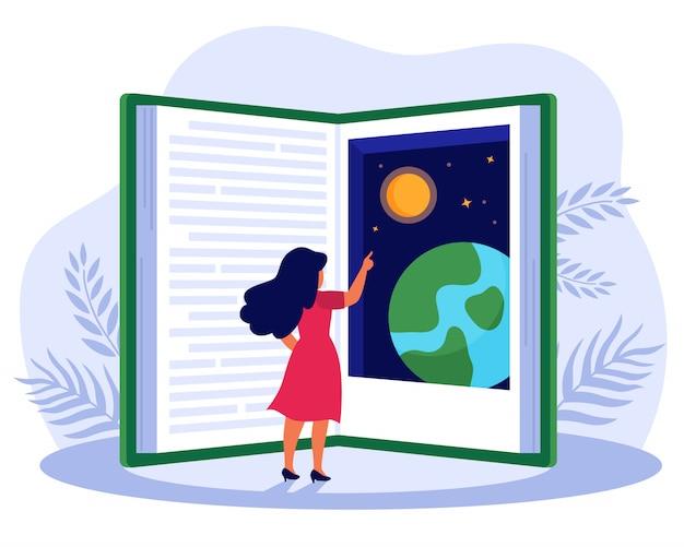 Pessoa que lê livro sobre o mundo global Vetor grátis